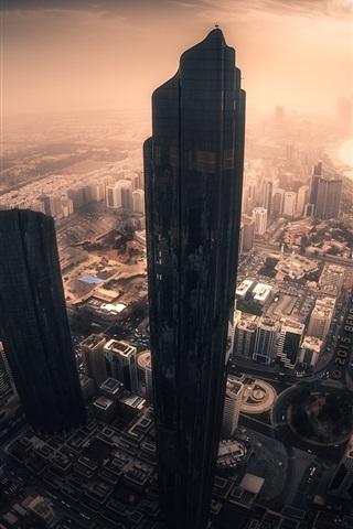 iPhone Wallpaper Abu Dhabi, city, skyscrapers, sun rays, morning, United Arab emirates