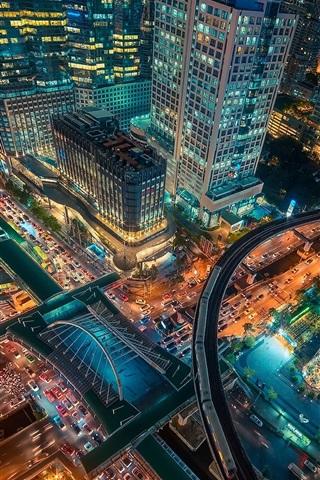 iPhone Wallpaper Bangkok, Thailand capital, city at night, top view, skyscrapers, road, lights
