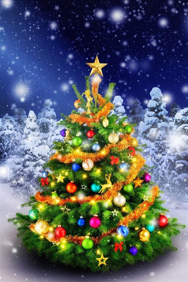 Schöne Weihnachtsbaum im Winter, Wald, Lichter, Schnee 1080x1920 iPhone  8/7/6/6S Plus Hintergrundbilder, HD, Bild