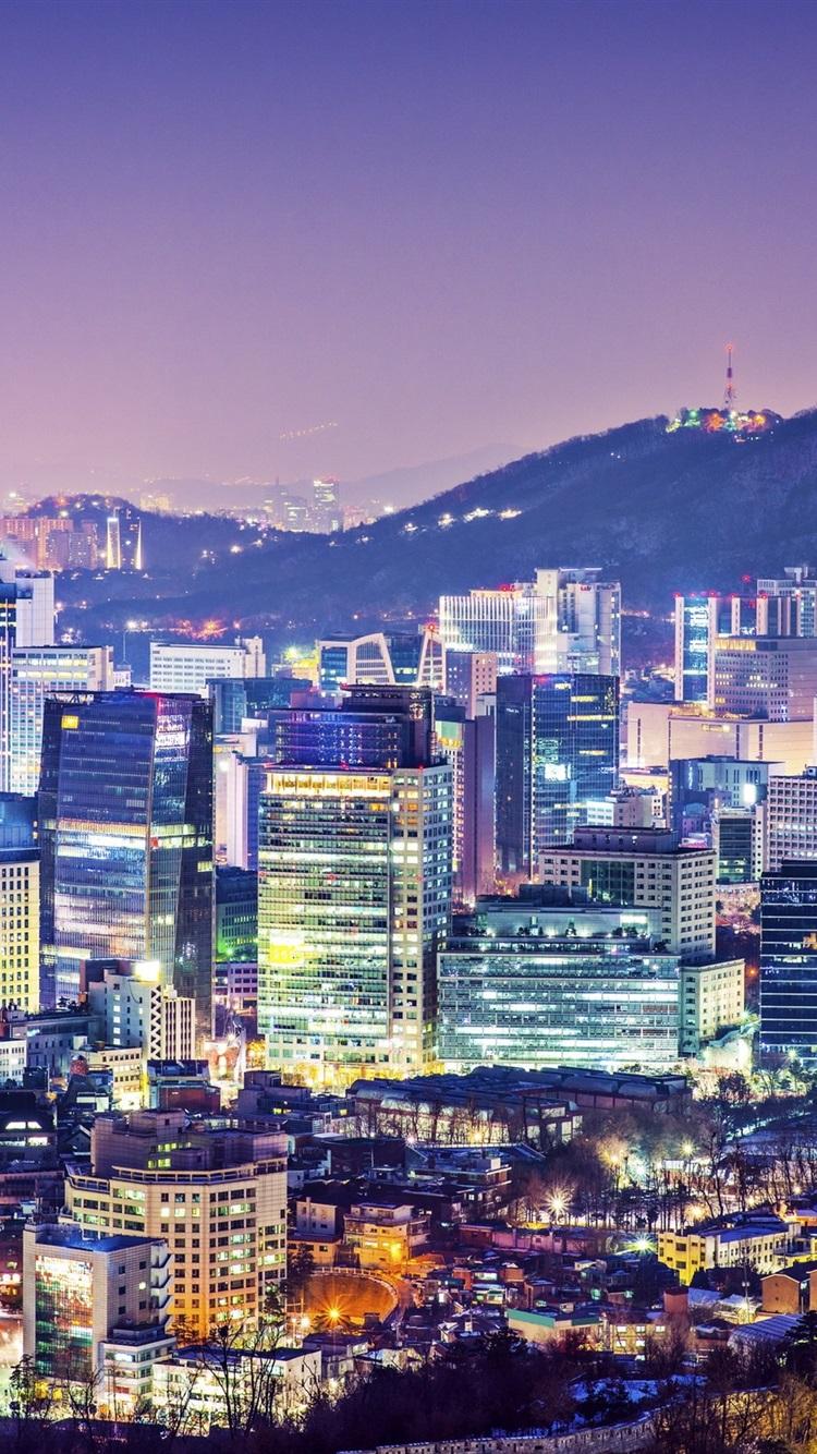 美しい街の夜 ソウル 韓国 建物 住宅 塔 ライト 750x1334 Iphone