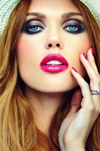 iPhone Wallpaper Blonde girl, makeup, hat, blue eyes, lip