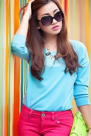 iPhone Wallpaper Blue dress Asian girl, sunglasses, street, rainbow background