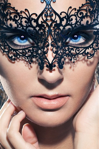 iPhone Wallpaper Blue eyes girl, mask, makeup, hands