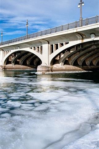 iPhone Wallpaper Bridge, river, snow, winter, city