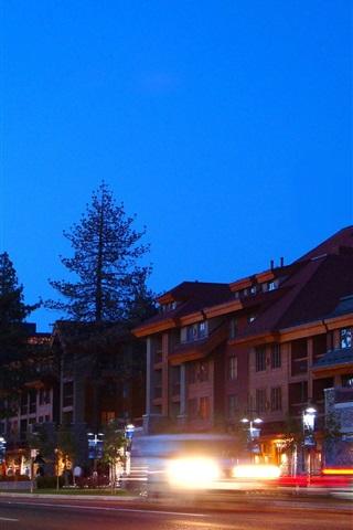iPhone Wallpaper California, USA, South Lake Tahoe, city, houses, lights, night