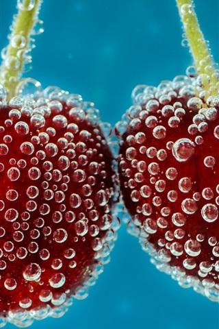 iPhone Wallpaper Cherries in the water, bubbles, fruit
