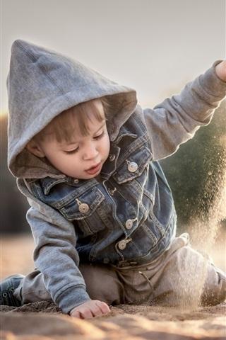 iPhone Papéis de Parede Criança, Menino, jogo, areias