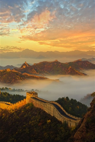 iPhone Wallpaper China, Great Wall, mountains, fog, history, architecture, dawn