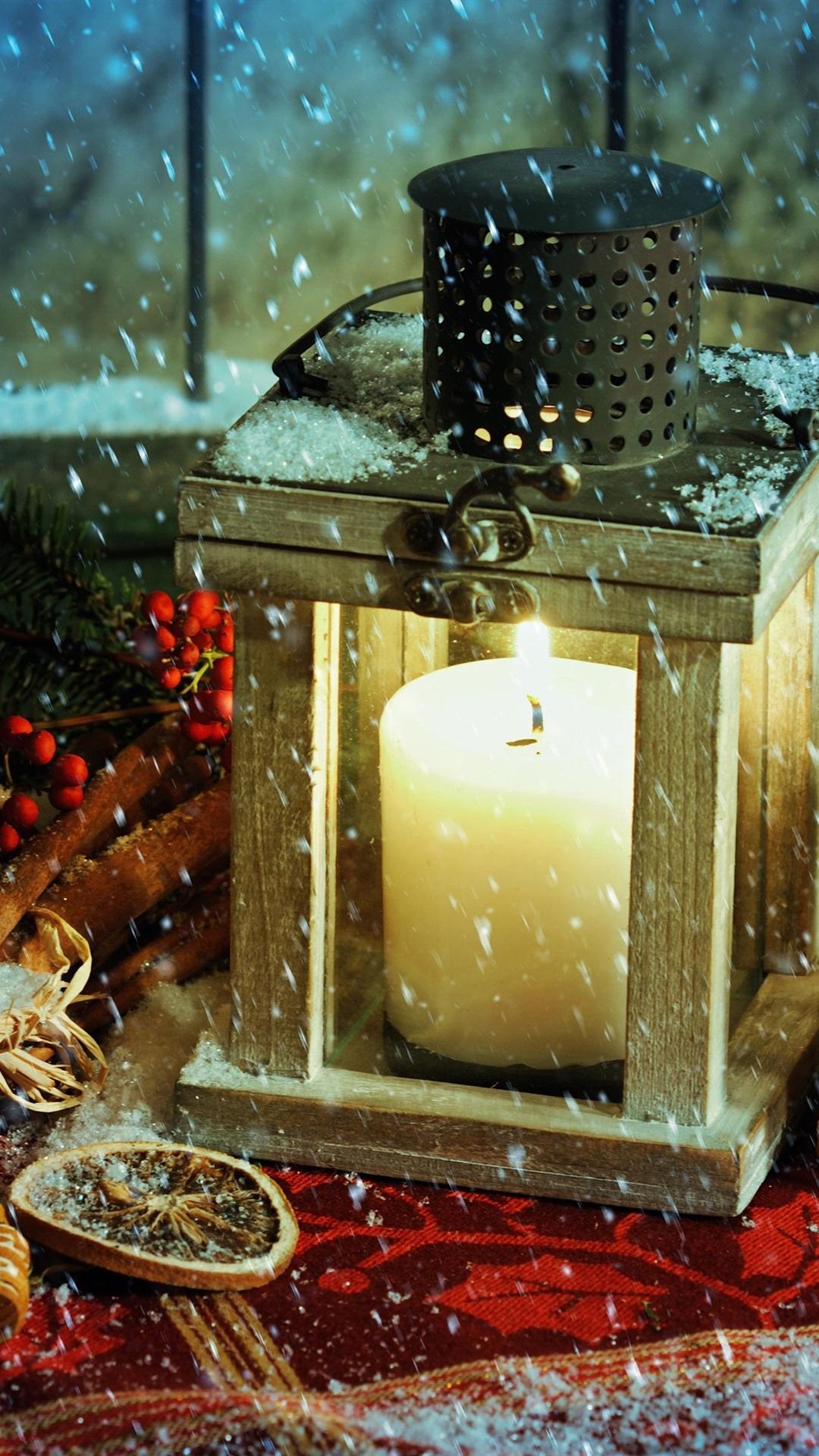 Christmas Themed Lantern Candles Fire Snow 1080x1920