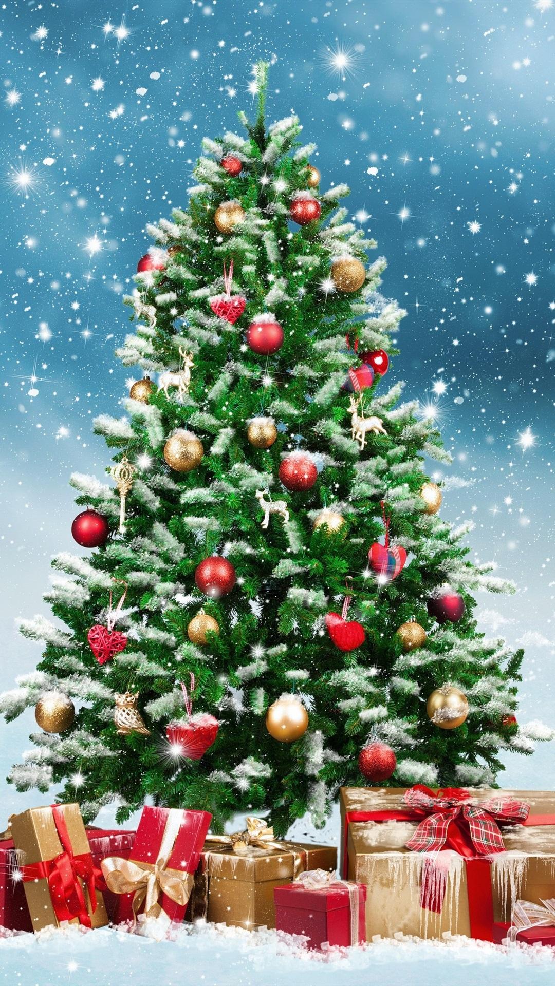 Christmas Tree Gifts Snowflakes Winter Snow 1080x1920