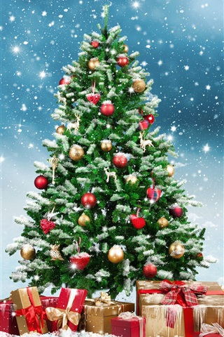 iPhone Wallpaper Christmas tree, gifts, snowflakes, winter, snow