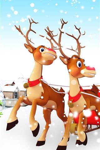 iPhone Wallpaper Christmas tree, gifts, toys, snow, Santa Claus, sleigh, deer
