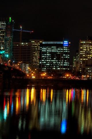 iPhone Wallpaper City at night, houses, lights, river, bridge, illumination, Portland, USA