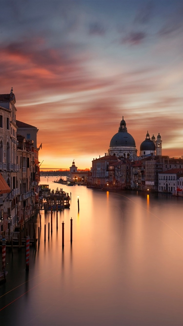 City Houses Grand Canal Evening Red Sky Venice Italy