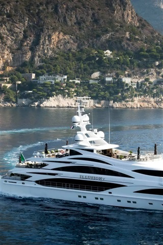 iPhone Wallpaper Coast, yacht, sea, mountains