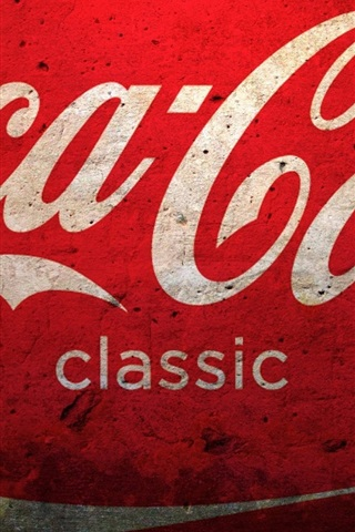 iPhone Wallpaper Coca-Cola logo, red background