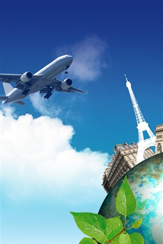 iPhone Wallpaper Creative pictures, journey to the world, plane, earth