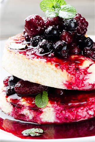 iPhone Wallpaper Delicious dessert, berries, cake, jam, mint