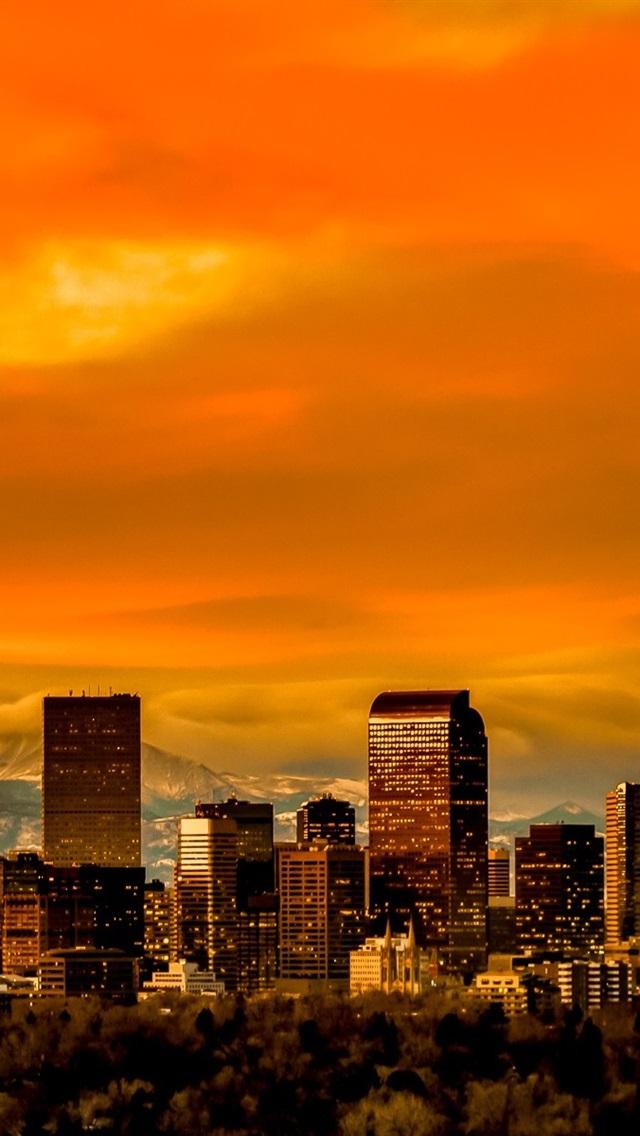 コロラド州デンバー スカイライン 高層ビル 夕暮れ 640x1136 Iphone 5 5s 5c Se 壁紙 背景 画像