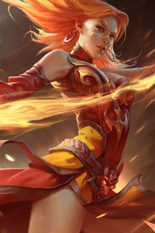 iPhone Wallpaper Dota 2, girl magic, fire