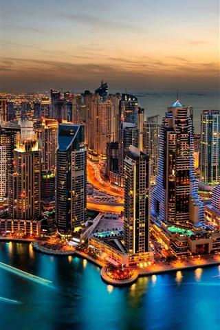 iPhone Wallpaper Dubai, city night view, lights, skyscrapers, Arab Emirates