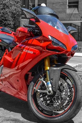 Fondos De Pantalla Ducati 1098s Motocicleta Roja En La Calle