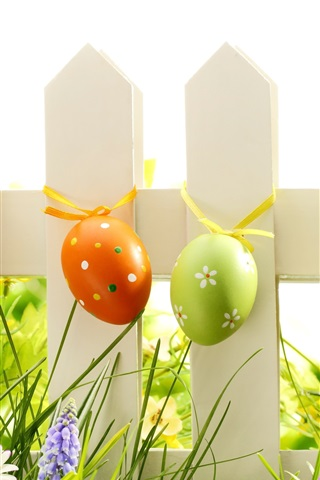 iPhone Wallpaper Easter, eggs, grass, flowers, fence, spring