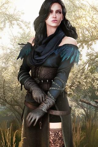 iPhone Wallpaper Fantasy girl, witcher, raven