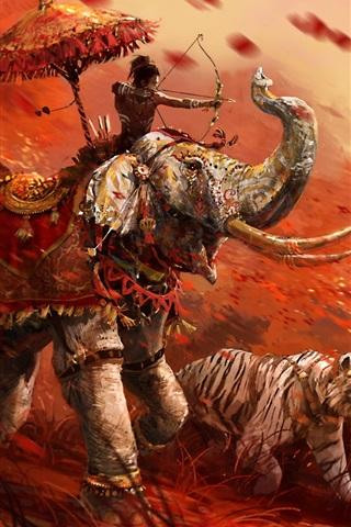 iPhone Papéis de Parede Far Cry 4, tigre, arqueiro, elefante