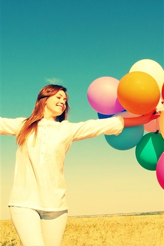iPhone Wallpaper Freedom girl in summer, colorful balloons