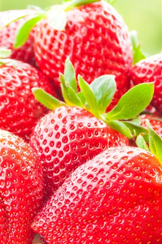 iPhone Wallpaper Fresh strawberries macro photography, delicious fruit