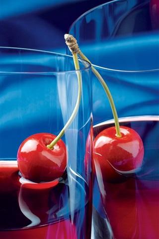 iPhone Wallpaper Fruit juice, cherry, glass cups