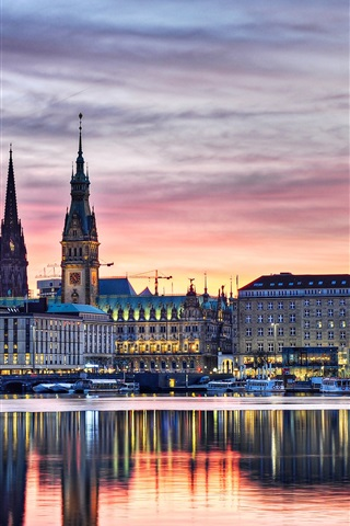 iPhone Wallpaper Germany, Hamburg, buildings, lights, evening, river, boats, water reflection, sunset