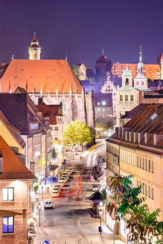 iPhone Wallpaper Germany, Nuremberg, city, street, houses, lights, night