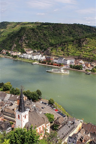 iPhone Wallpaper Germany, Sankt Goar, city, mountains, river, boats