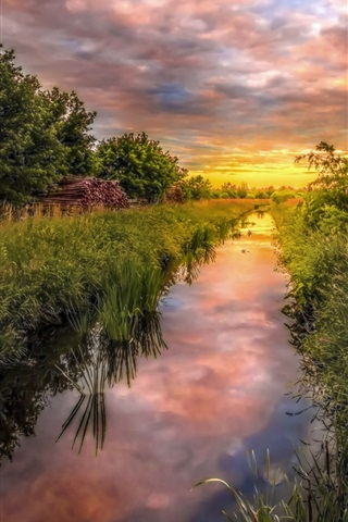 iPhone Wallpaper Germany nature scenery, grass, trees, field, river, clouds, sunset