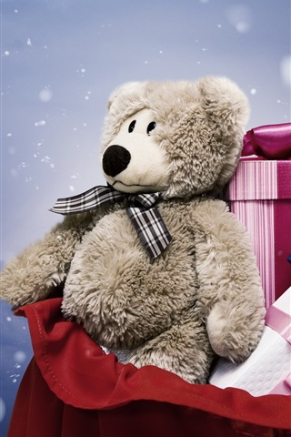 iPhone Wallpaper Gift, toy bear, boxes