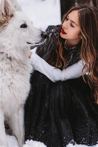 iPhone Wallpaper Girl and white dog in winter