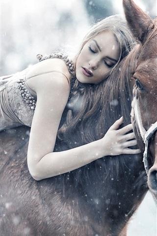 iPhone Wallpaper Girl riding a horse sleep, winter, snow