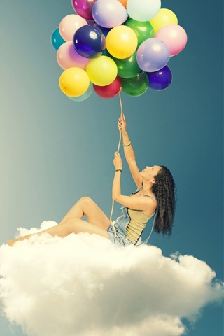 iPhone Wallpaper Girl sitting on clouds, colorful balloons, creative design