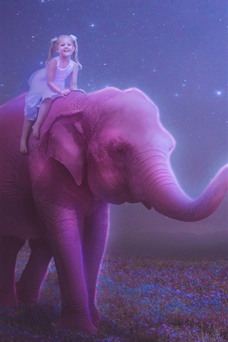 iPhone Wallpaper Happiness child girl, elephant, moon, balloon, night, creative picture