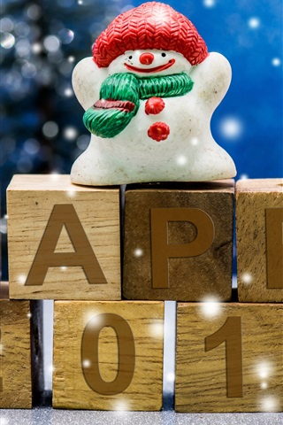 iPhone Wallpaper Happy 2017, New Year, snowman, toy, snowflakes