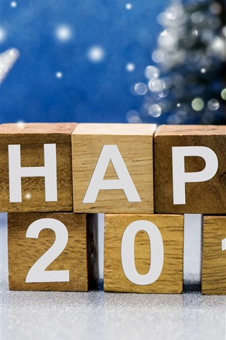 iPhone Wallpaper Happy 2017, New Year theme, wooden cubes, Christmas Santa