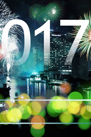iPhone Wallpaper Happy New Year 2017, fireworks, city, skyscrapers, bokeh