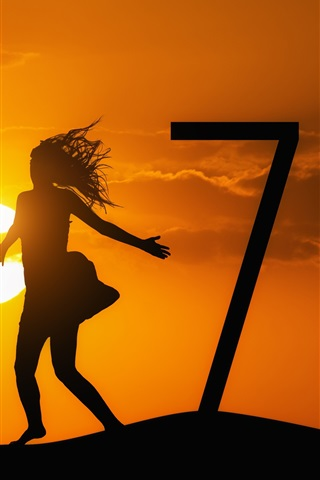 iPhone Wallpaper Happy New Year 2017, girl, sunset