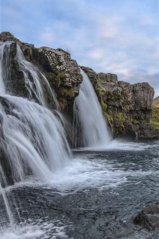 iPhone Wallpaper Iceland, waterfalls, mountain