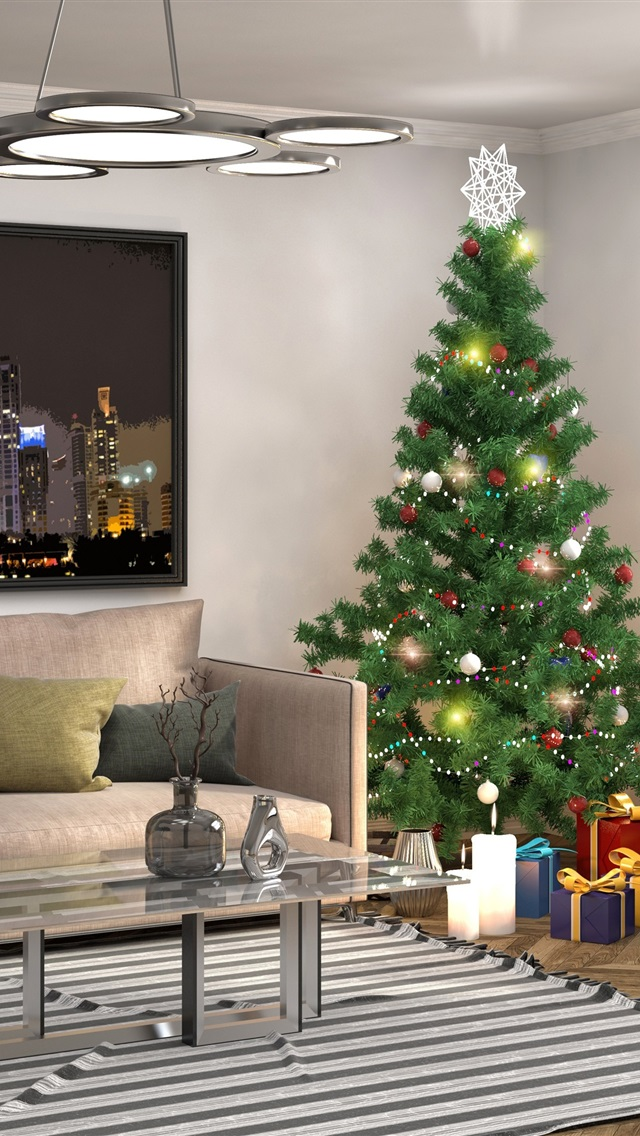 Tree Design Wallpaper Living Room: Wallpaper Interior Design, Christmas Tree, Pillow, Sofa