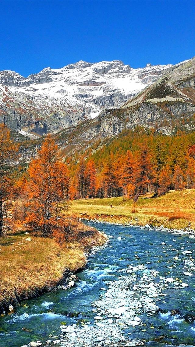 foto de Italy nature scenery, trees, snow, mountains, river, autumn ...