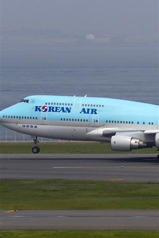 iPhone Wallpaper Korean Air, Boeing 747 plane