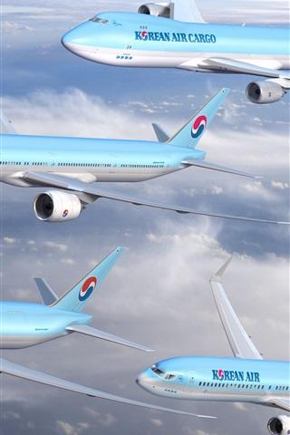 iPhone Wallpaper Korean Air, four planes flight in sky